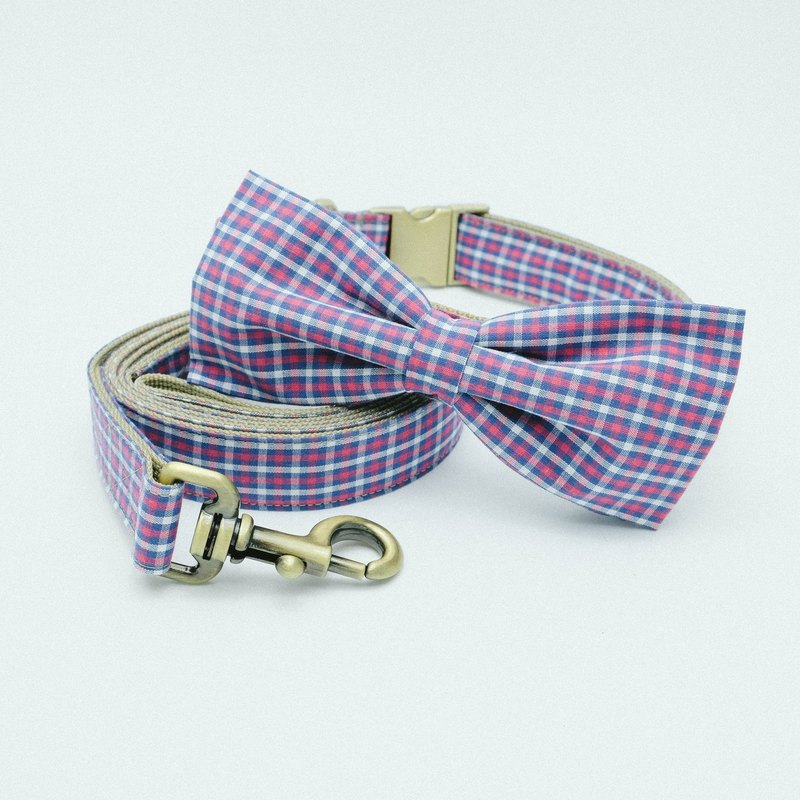 Bowtie Collar with Leash - Plaid Collection Red/Navy/White
