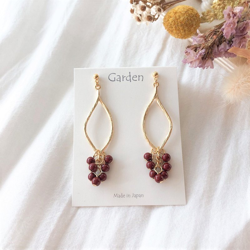 【pinkoi limited color】tsubu tsubu earrings wine