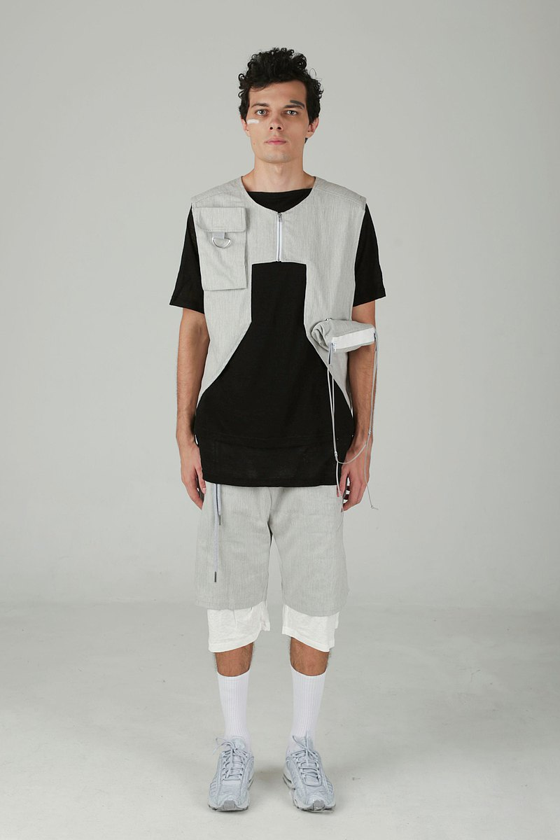 nowherelse-Zipper Geometric Vest