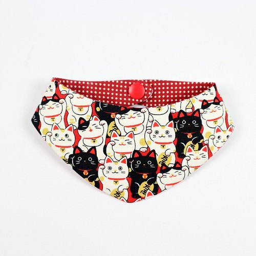 Pet cat scarf scarf bandage - Lucky Cat (red)