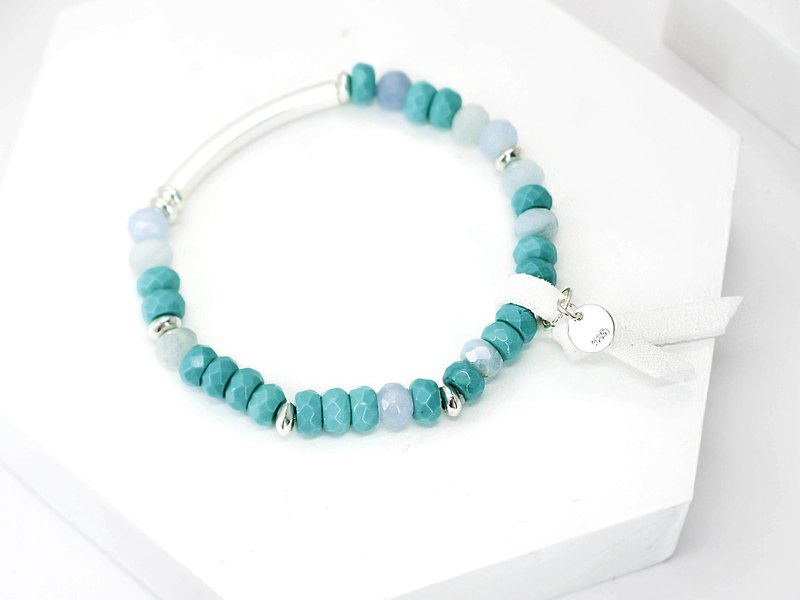 Green sea color love natural stone silver bracelet │ pink green 玥unicorn Christmas Valentine's Day