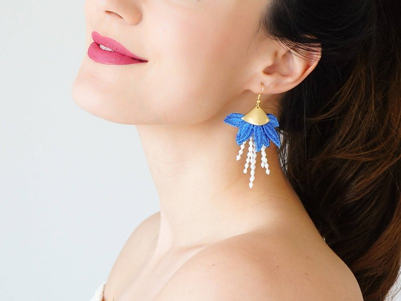 BLUE Clothing Gift Royal Blue Earrings Tassel Earrings Girlfriend Gift For Mom Hoop Earrings Lace Earrings Statement Earrings / ORECA