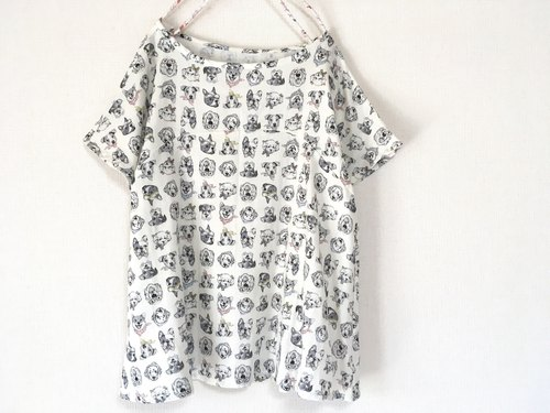 Dog handle blouse double gauze