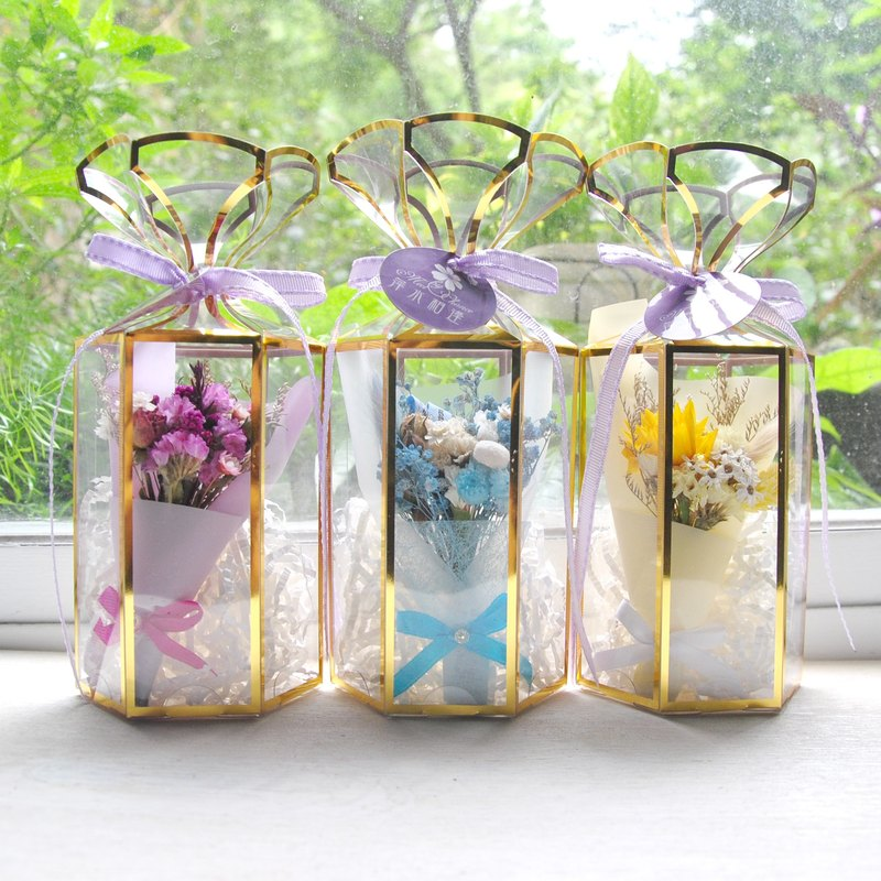 Goody Bag - Mini Dry Bouquet Tri-Color Gift Box + Small Card + Bag Available in Three Colors