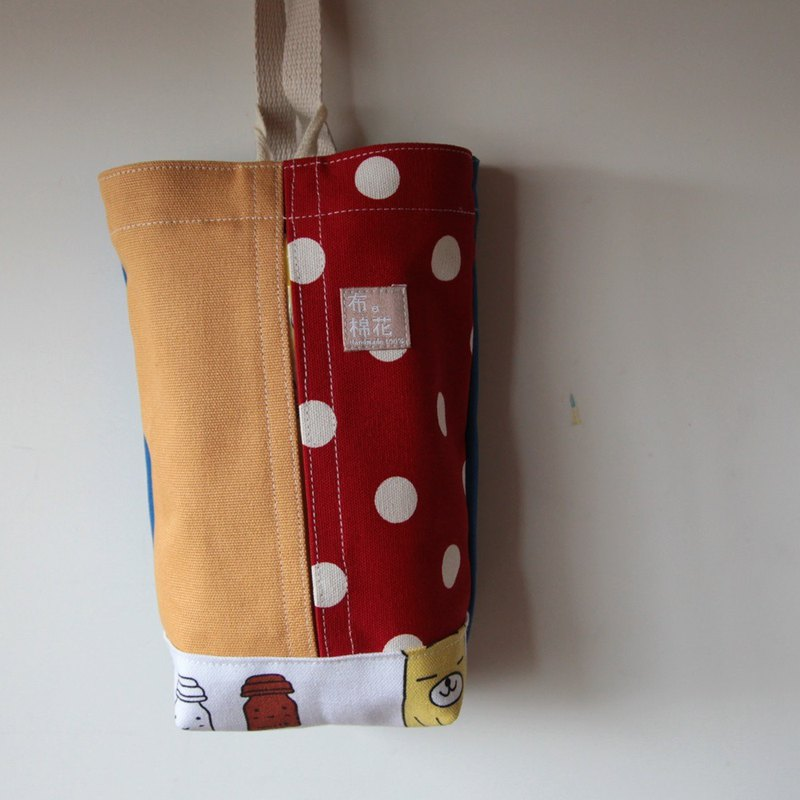 Hanging Tissue Box, housewarming,  red spot + yellow canvas