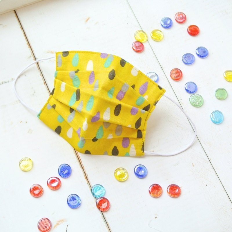 25%OFF | Practical handmade mask Rain Drops Mustard | Cute retro dot pattern |