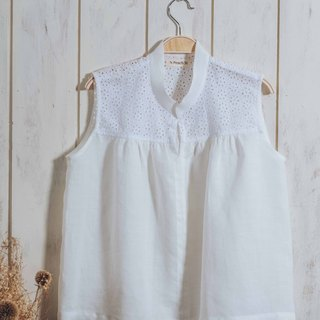 Cardigan lace vest - white, hemp, blouse, sleeveless