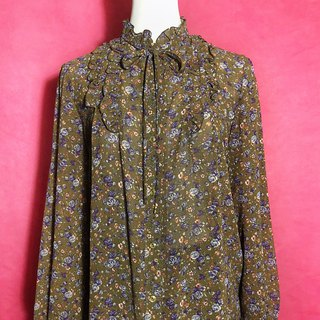 Purple lotus leaf collar chiffon long-sleeved vintage shirt / brought back to VINTAGE abroad