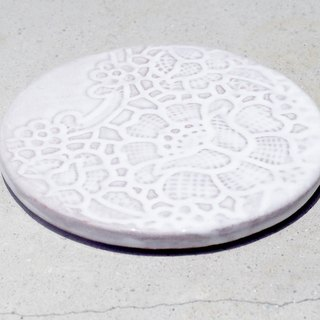 Valentine's Day Gift Handmade Relief Ceramic Coaster / Hand-painted Coasters / Boho Wind Cup Mat - Romantic Garden Lace Flower White Coaster