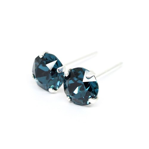 Midnight Blue Swarovski Crystal Earrings, 925 Sterling Silver, 6mm Round, 男女耳釘
