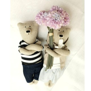 PK bears I Little Chef & Thoughtful Bear 23cm (Bonus Bouquet & Stand)
