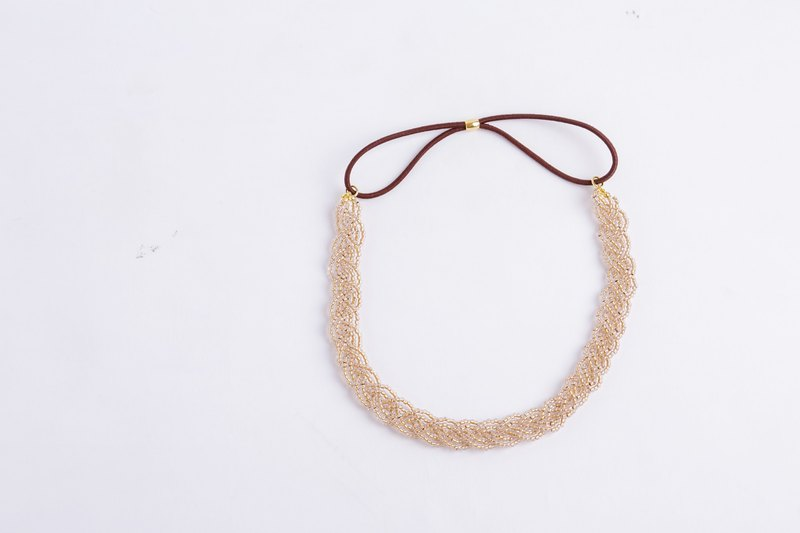 beads headband clear gold