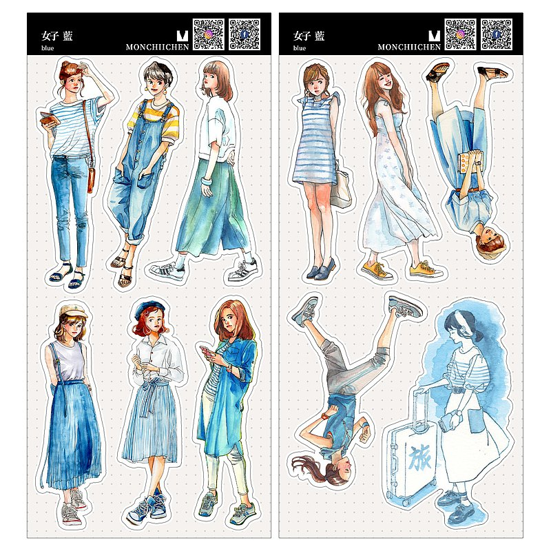 (New version) -BLUE-blue girl stickers