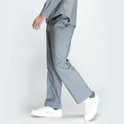 hao Gray Wool Trousers special weave wool pants