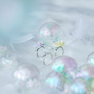 POM POM Peony Crystal Silver-plated Stainless Steel Ring
