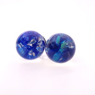 A Handmade navy blue imitation opal gem earrings resin