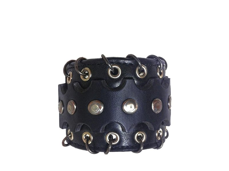Black Ring Leather Bracelet