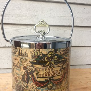 Retro world map ice bucket