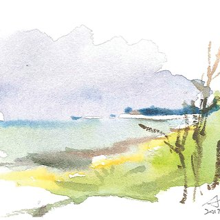Hand painted printed postcard. The coast of Sanchih