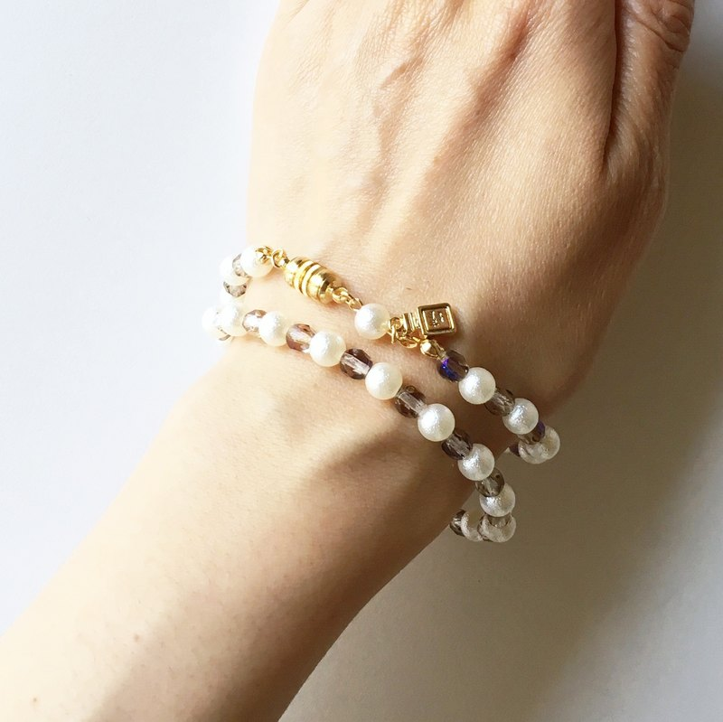 Light Czech Beads and Cotton Pearl Double Bracelet 6