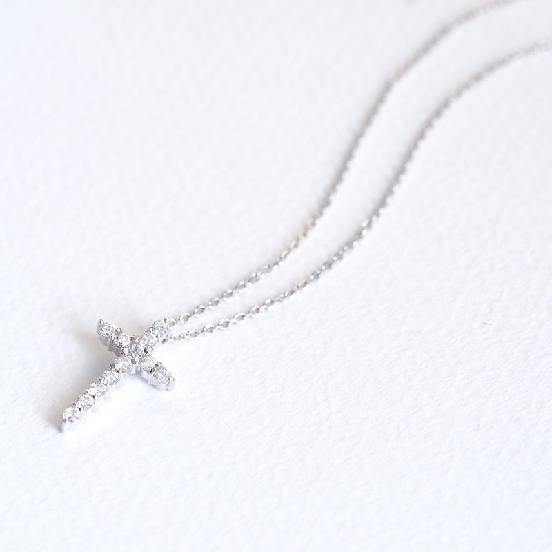 Stone Cross Necklace Silver 925