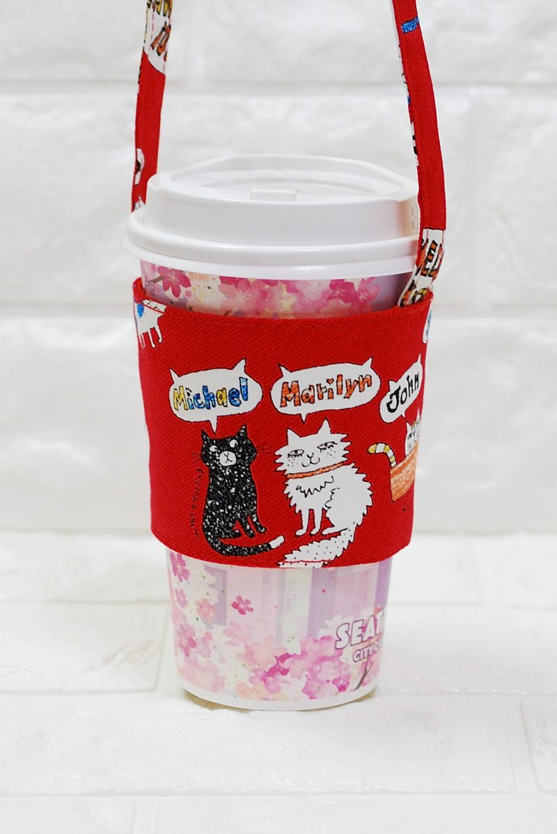 Play cloth hand made. Cat Love Chat (Red) Green Drink Bag Cup Set
