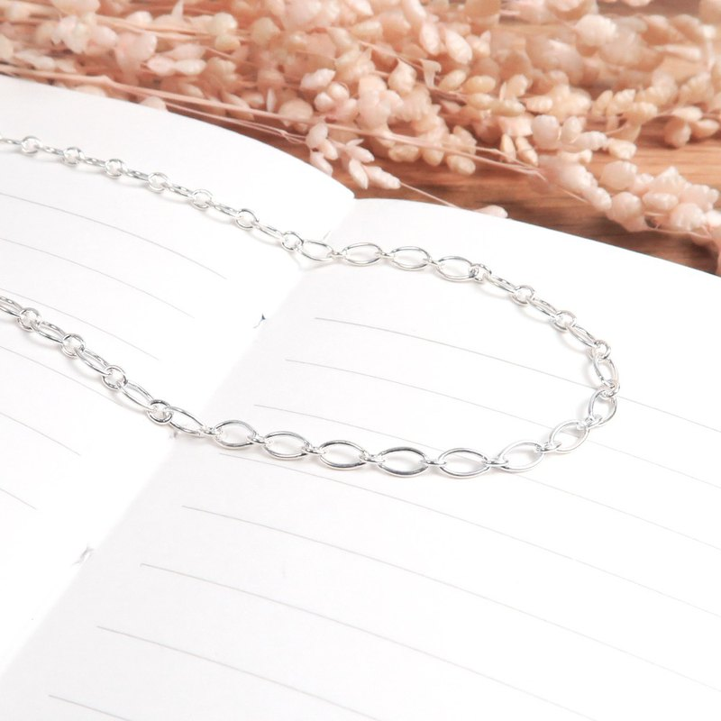 Sterling silver with chain olive ring chain (2.8mm middle chain) 925 sterling silver custom length custom necklace
