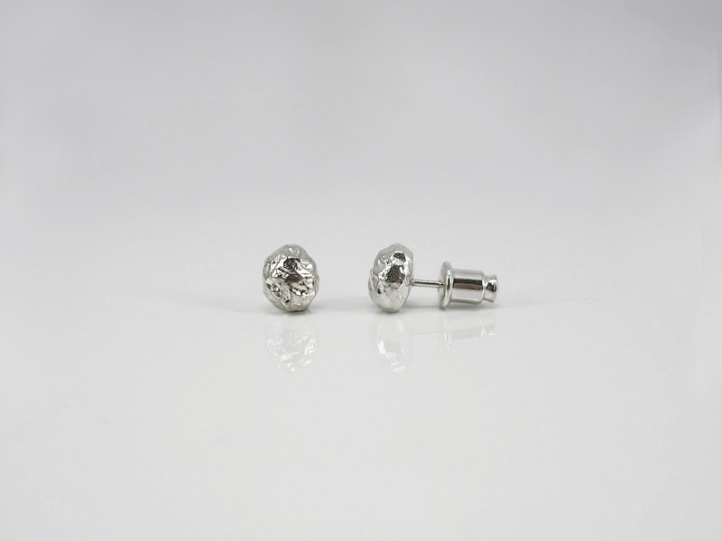 No.65 SILVER STONE EARRINGS 銀石耳針 - 925純銀