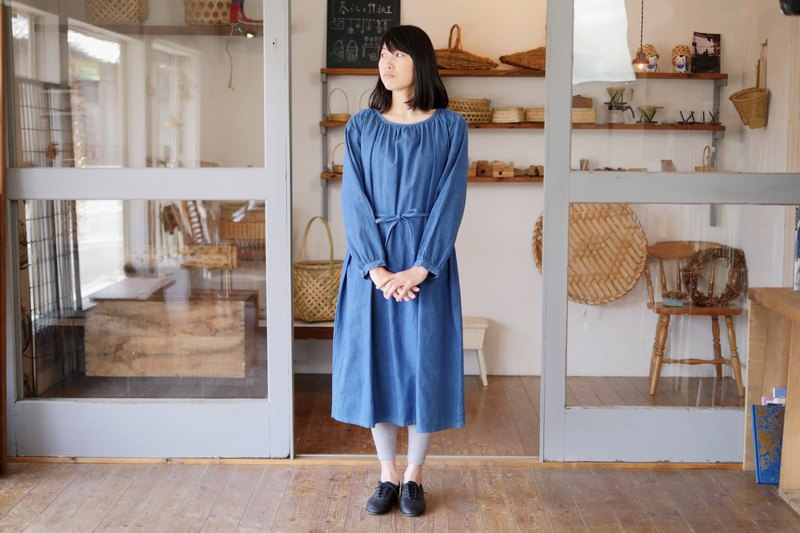 Ethical Hemp Gathers Dress Japanese Indigo Dyeing