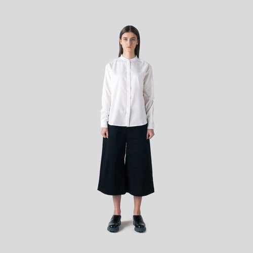 Basic Cotton Black Culotte Trousers
