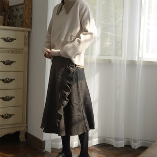 Wooden eared wool skirt | skirt | autumn and winter models | wool blend | independent brand | Sora-216