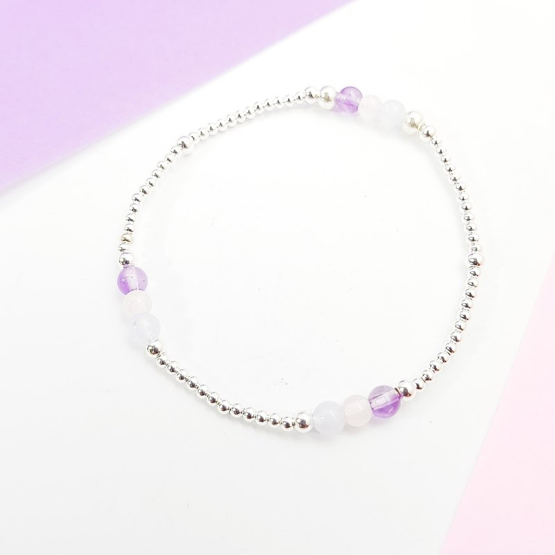 [ColorDay] Magpie pebbles ~ Amethyst _ pink crystal _ blue agate sterling silver elastic bracelet