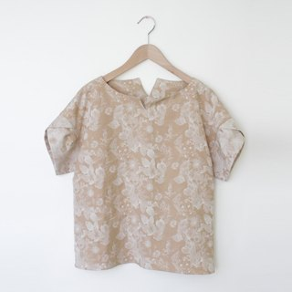 Plant handle jacquard tops - beige