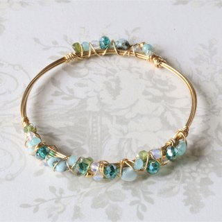 Larimar wire wrapped bracelet - natural crystal bracelet - 18K gold plated wire