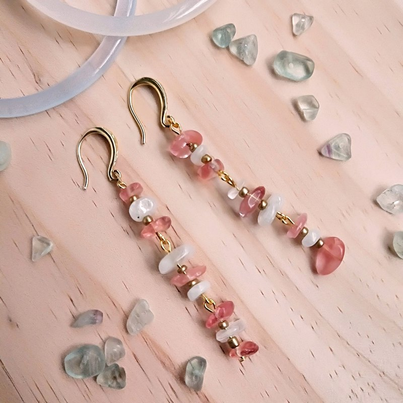 J011- natural stone beaded earrings (four colors) watermelon red crystal + moonstone