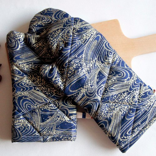 Hanging Insulation gloves, Kitchen supplies, deep Blue Japanese style
