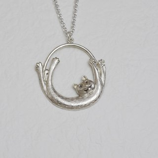 Cat stretches (Silver necklace silver Valentine's Day gift) ::C% handmade jewelry ::