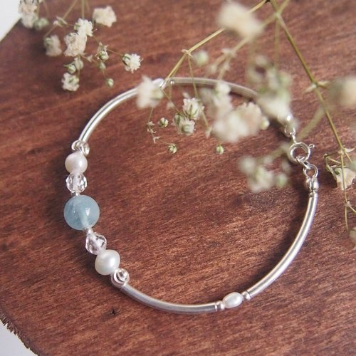 Mermaid Treasure | Aquamarine Freshwater Pearl Sterling Silver Design Bracelet