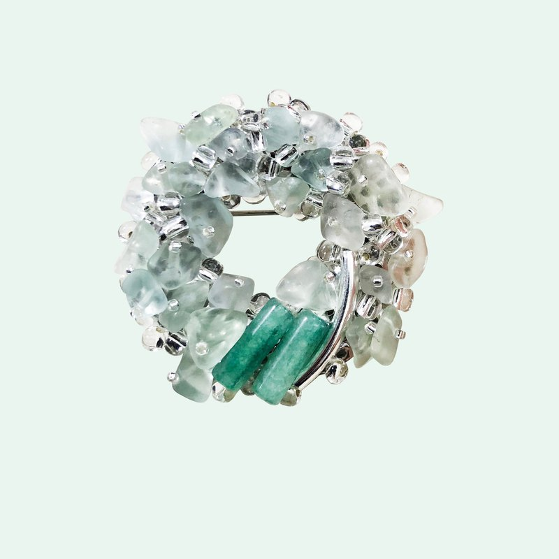 和風精緻半寶石胸針 水晶翡翠胸針 綠色天然石胸針 情人節禮物