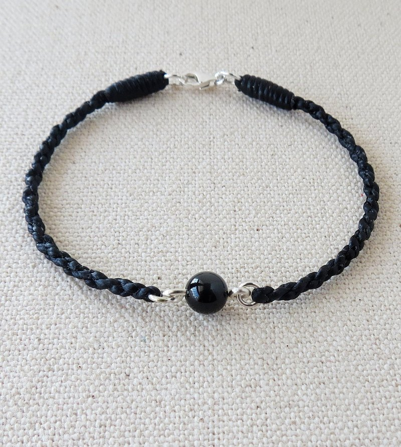 Sterling Silver*Fashion [Lucky Stone] Black Bismuth Silk Wax Bracelet*[Four Shares] ~ Anti-Small