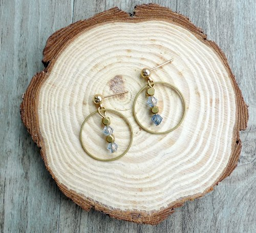 Misssheep - Simple Geometric Blue Crystal Brass Earrings (Auricular / Ear Clips)
