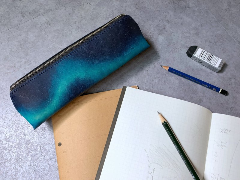 Hand-dyed Leather Aurora Night Sky Dark Blue Green Pencil Case