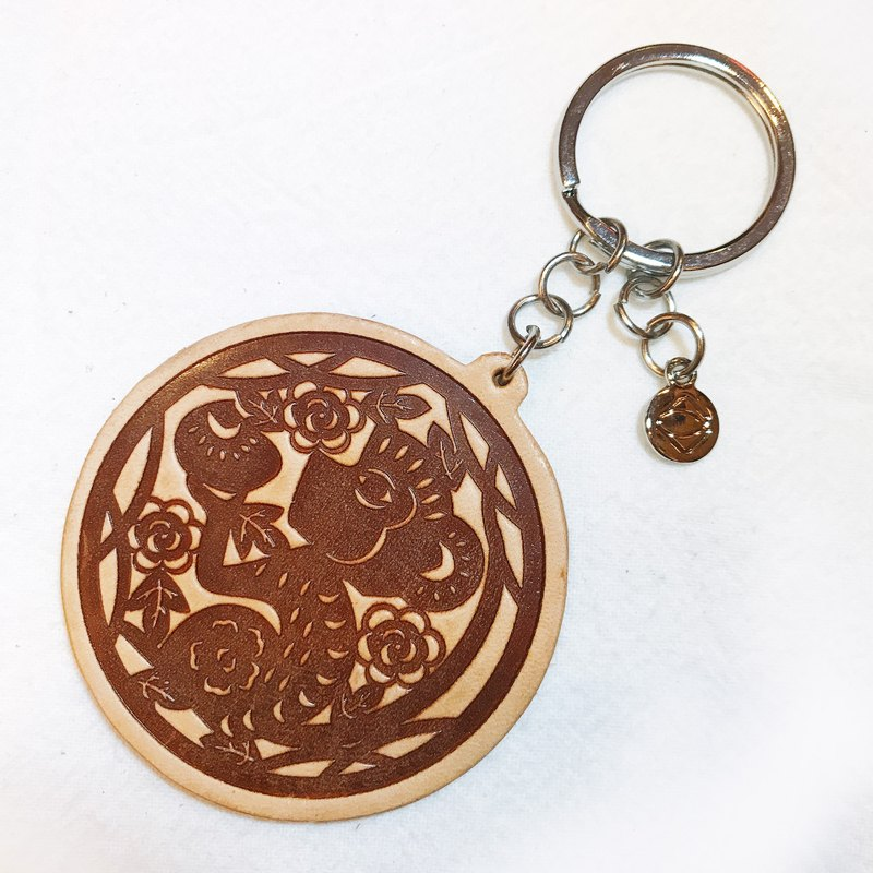 【La Fede】 Genuine leather zoster key ring (monkey / chicken / dog / pig)