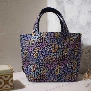 House wine series lunch bag / tote bag / limited edition handmade bag / psychedelic purple flower / pre-order