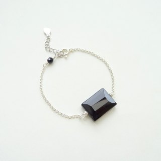 ::Geometry:: Black Onyx Baguette Cut Rectangle Sterling Silver Bracelet