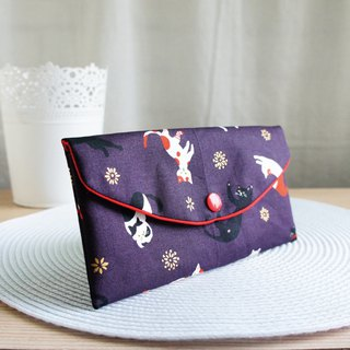 Lovely Japanese cloth [hot stamping yoga cat red bag, purple] passbook sleeve, cash storage bag