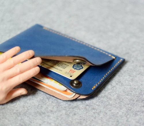 YOURS overlapping design leather business card holder blue leather