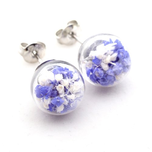 「愛家作- OMYWAY」DIY 乾花  玻璃球 耳針 耳環 耳勾 垂掛 耳夾 Dried Flower - Glass Globe- Earrings- Drop Earrings - Drop Clip on Earrings - Clip Earrings