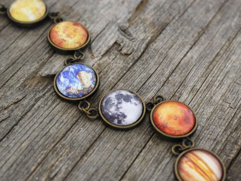 Solar System Bracelet, Planet Bracelet, Galaxy Bracelet, Universe, Space Jewelry, The Earth, Full Moon, Sun, Neptune, Jupiter, Mars, Venus