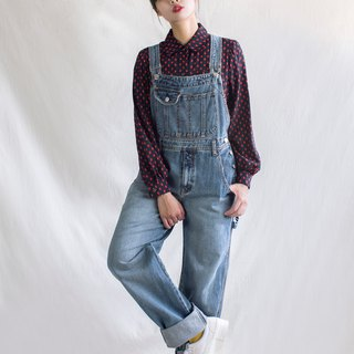 Washed multi-pocket boy wind vintage strap jeans